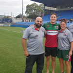 Visiting Lebanese Rugby League Federation representatives Jad Esseily, Lara Saab and Wissam Chami meet with Lebanese National Rugby League team member and Parramatta Eels five-eighth Mitchell Moses. Photo Credit: LRLF.